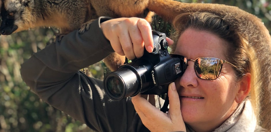 Indagare member Marina Purcell—and a local lemur—on the 2018 Insider Journey to Madagascar