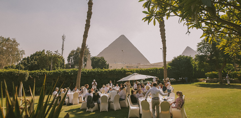 Indagare members having a private lunch at the Mena House Hotel on the 2018 Insider Journey to Egypt