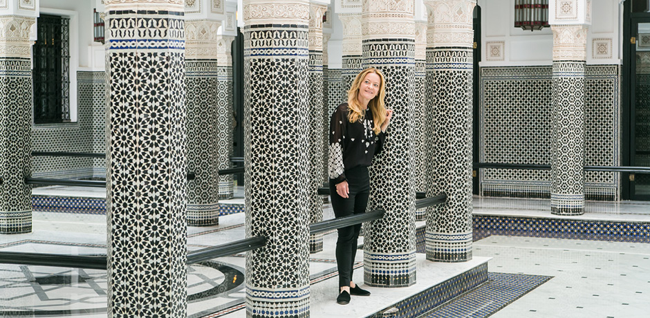 Indagare's founder and CEO Melissa Biggs Bradley at La Mamounia on the 2018 Insider Journey to Marrakech with Architectural Digest
