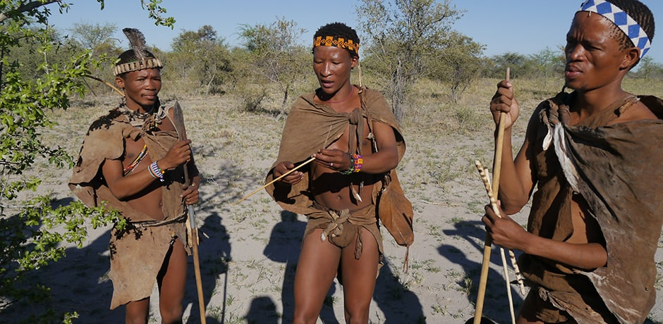 Walking with bushmen in the Kalahari