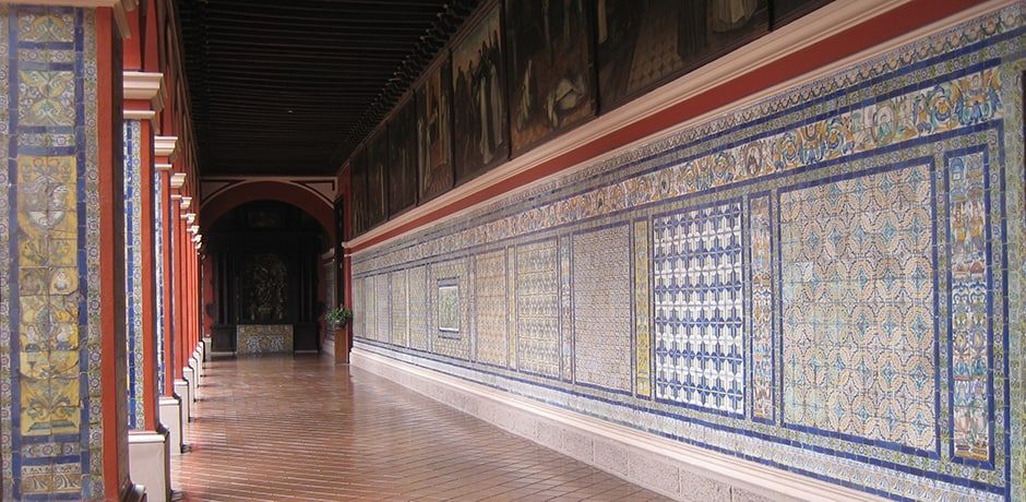 Tiled arcade at Convent of Santo Domingo in Lima, one of the old city's prettiest sights