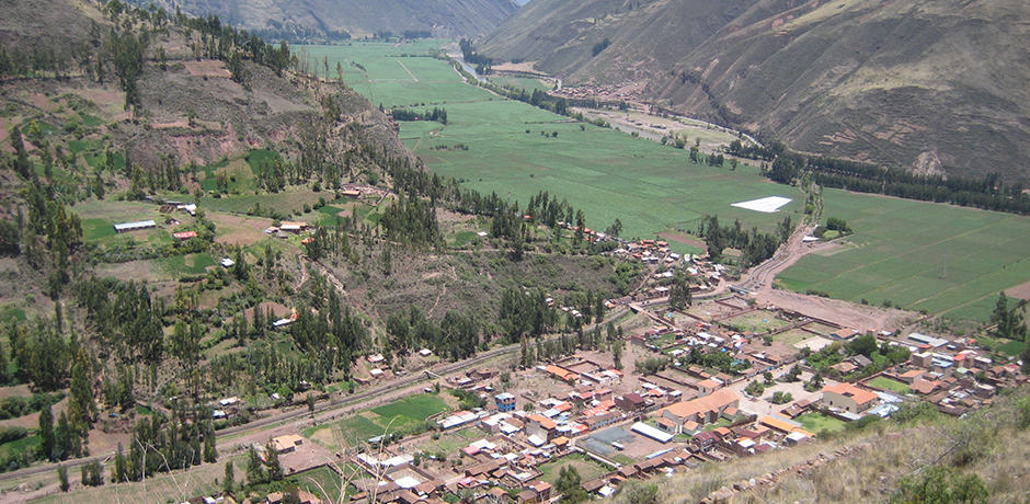View of Pisac village, on the way from Cusco to the Urubamba Valley