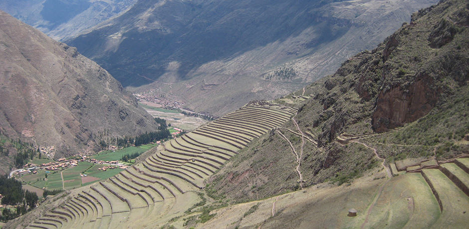 Agricultural terraces at the Pisac ruins. As happened with many Inca structures, this one was destroyed by Pizarro in the 1530's.