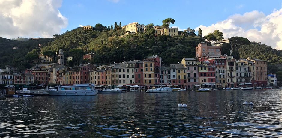 View of Portofino town from the water