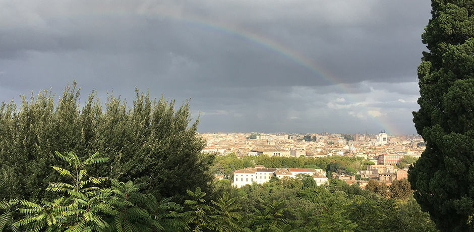 Rainbow arching over the city of Rome