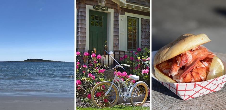 From left: Goose Rocks Beach, a cottage at Grace White Barn Inn, lobster roll at The Clam Shack