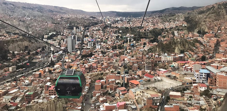 La Paz, not a pretty city but a topographically dramatic one, seen from the teleferico, the new cable-car public transport system