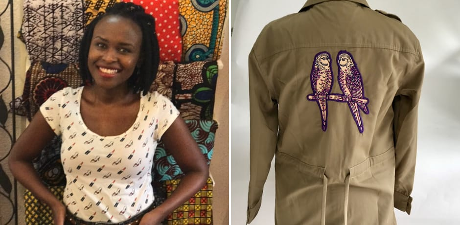 Rwanda Clothing Company Founder Joselyne Umutoniwase; safari jacket in double parrot