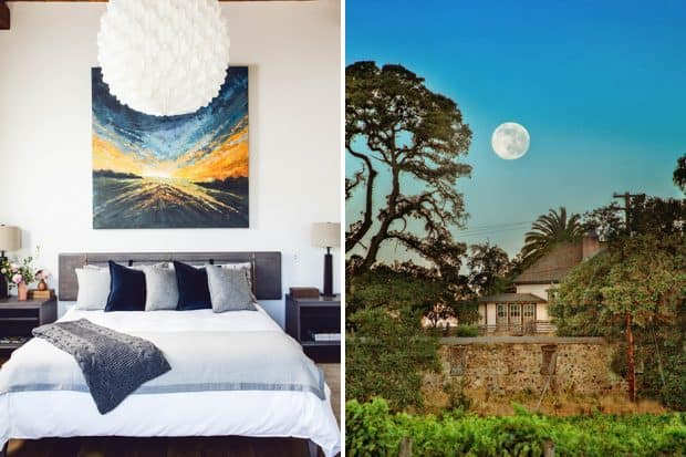 Bedroom and exterior with moon at Single Thread Farm, Sonoma