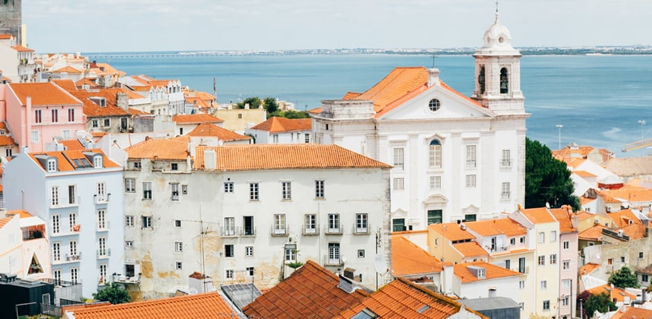 A view of Lisbon's iconic tiled rooftops.