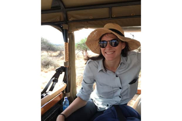 Trip Designer Lizzie McGirr on a game drive while scouting in Kenya.