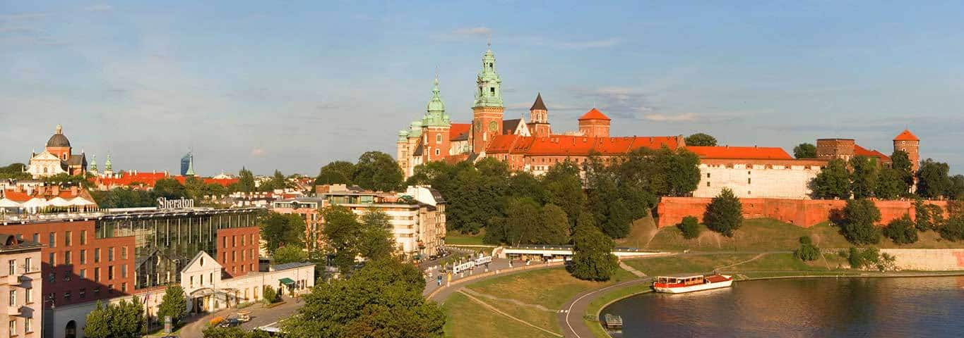The view of Wawel Castle from the Sheraton Grand Krakow hotel in Poland