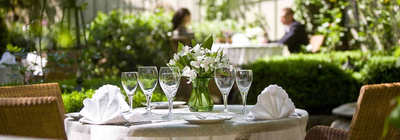 A table setting at Rozana restaurant in Warsaw, Poland