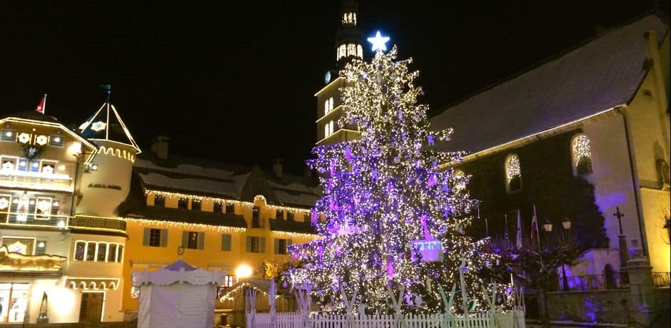 The annual lighting of the Christmas tree is a big deal in Megève, attracting thousands who flock to see the artistic adornment of the village square's tree and church. This year's tree was designed by Swiss artist, Marina Albertini.