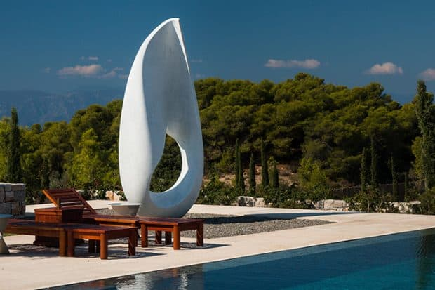 The new 9-bedroom villa of Amanzoe is filled with art pieces