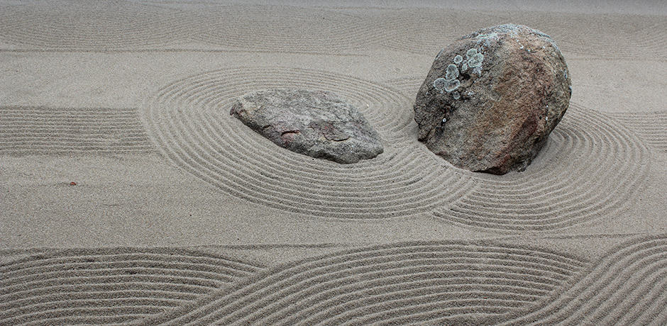 Zen rock gardens provide spots for peaceful introspection.