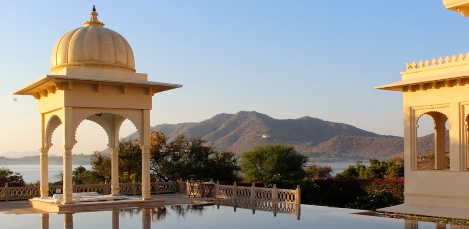 With its views, gazebos and infinity pool, Udaivilas is one of the most stunning hotels in all of India.