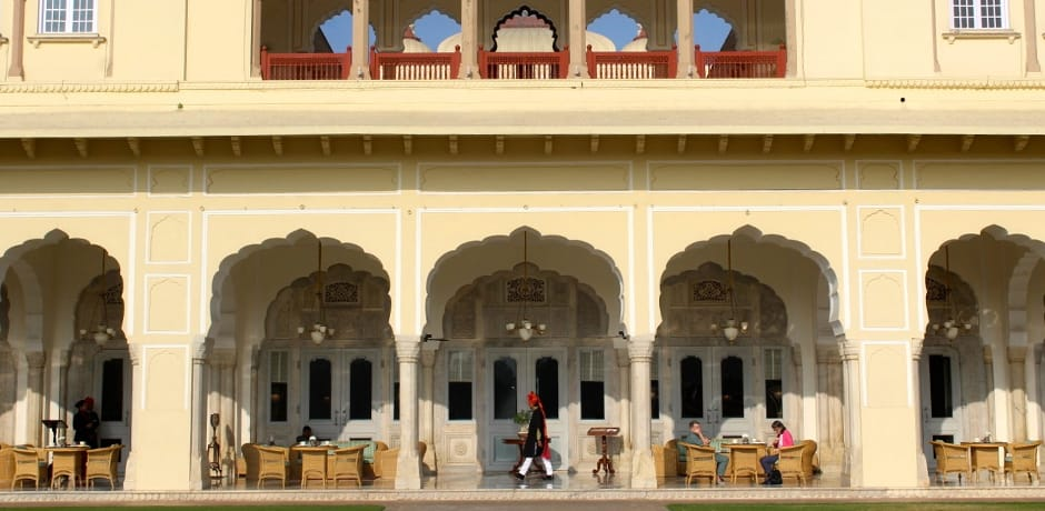 A grand spot for breakfast at Rambagh Palace in Jaipur.