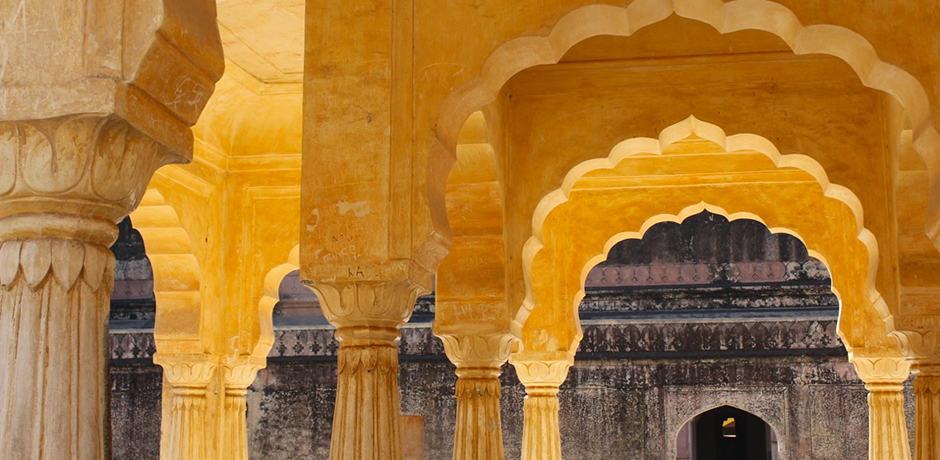 Scalloped arches at the Amer Fort in Jaipur.