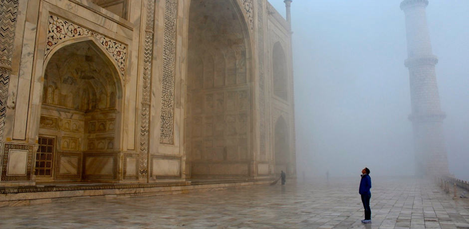 Timing at the Taj Mahal is everything. We were the first people in line in the morning and arrived at sunrise, which meant we had a few minutes to be alone with this magnificent building as it drifted in and out of the morning fog.