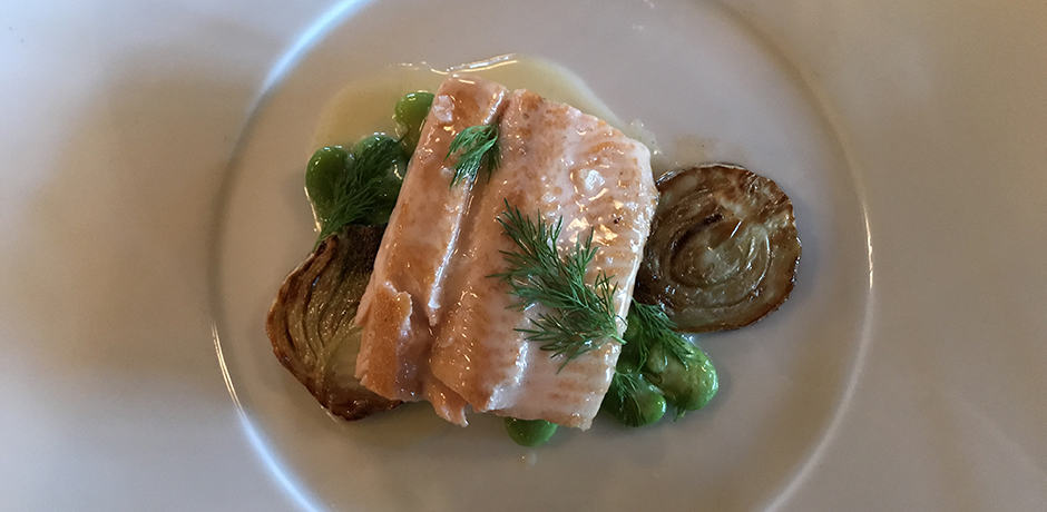 Dinner of fish with roasted fennel.