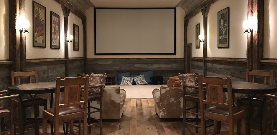 The Saloon also boasts a private movie theater with at 14-foot screen...