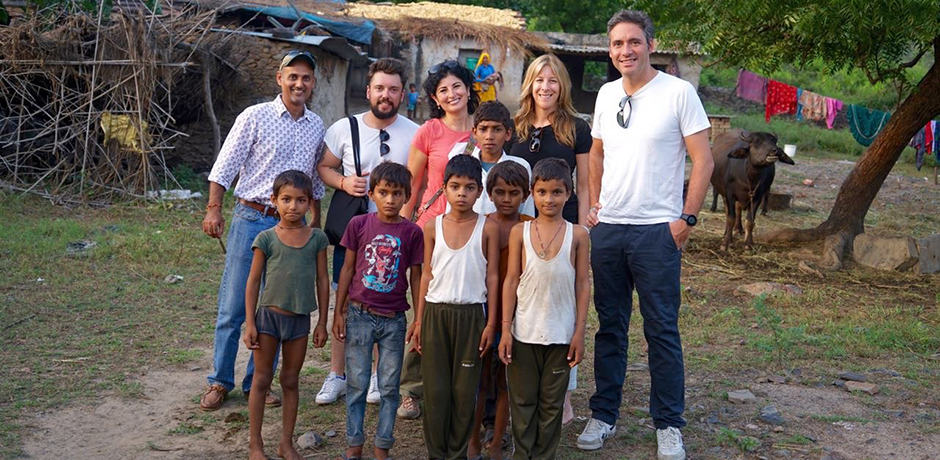 Meeting some of the children in the village near the Amanbagh hotel