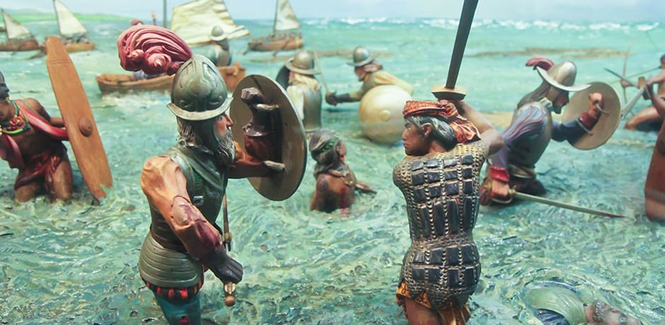 A diorama at the Ayala Museum depicts the battle between Ferdinand Magellan and Lapu Lapu, a tribal chieftain who slew the Portuguese conquerer