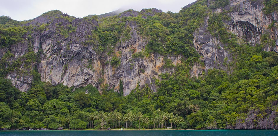 Limestone karst islands dot the landscape in El Nido, Palawan