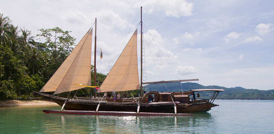 A traditional paraw or wooden sailboat