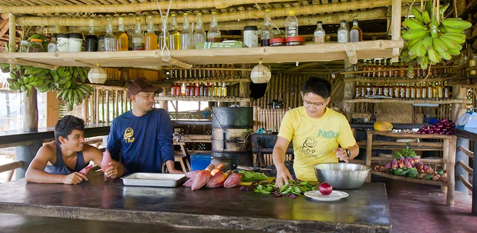 Kitchen at Tao Philippines, which has an organic farm and many livelihood programs for island locals