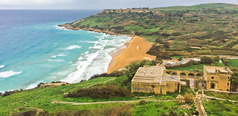 Ramla Bay, a red-sand beach in Gozo