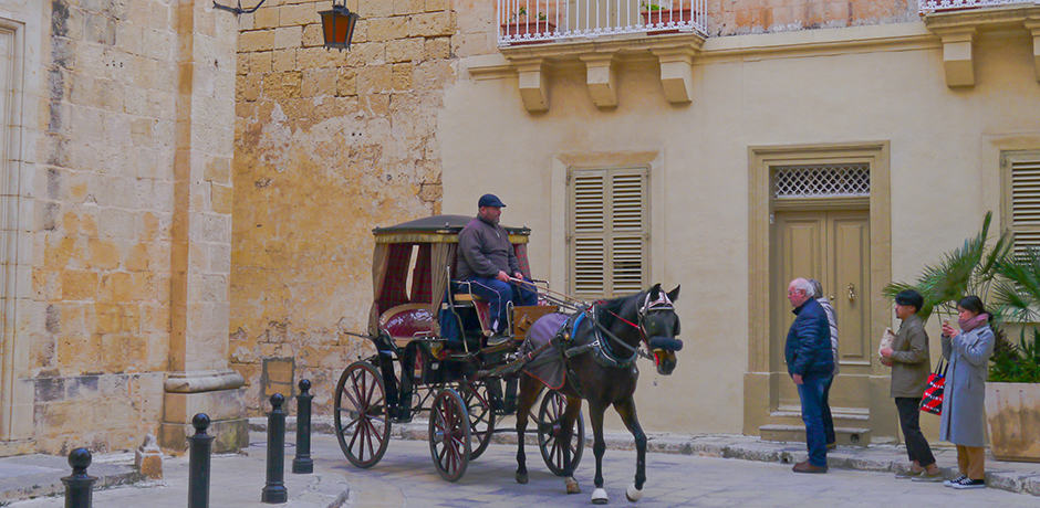 The silent city of Mdina has winding and picturesque cobblestone streets