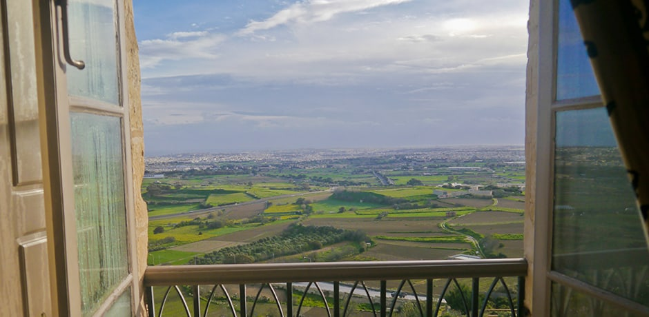 View from a room at Xara Palace in Mdina