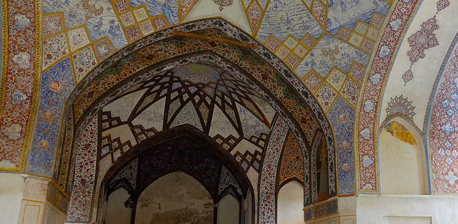 Decorative arches in the dome of the Fin Garden in Kashan, a UNESCO World Heritage Site, one of 19 in the country.