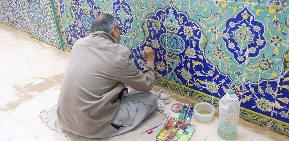 A restorer working on the oldest synagogue in Isfahan