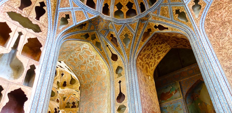 The Music Hall on the third floor of the Ali Qapu Palace in Isfahan was created for Shah Abbas the second.