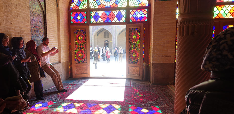 The winter prayer room in the Nasir al-Mulk Mosque in Shiraz.