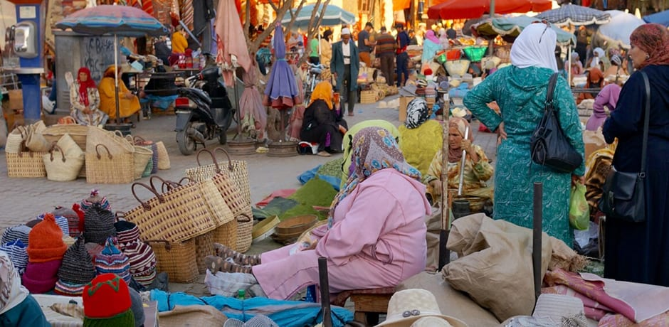Exploring the souk and its hundreds of shops and markets in Marrakech.