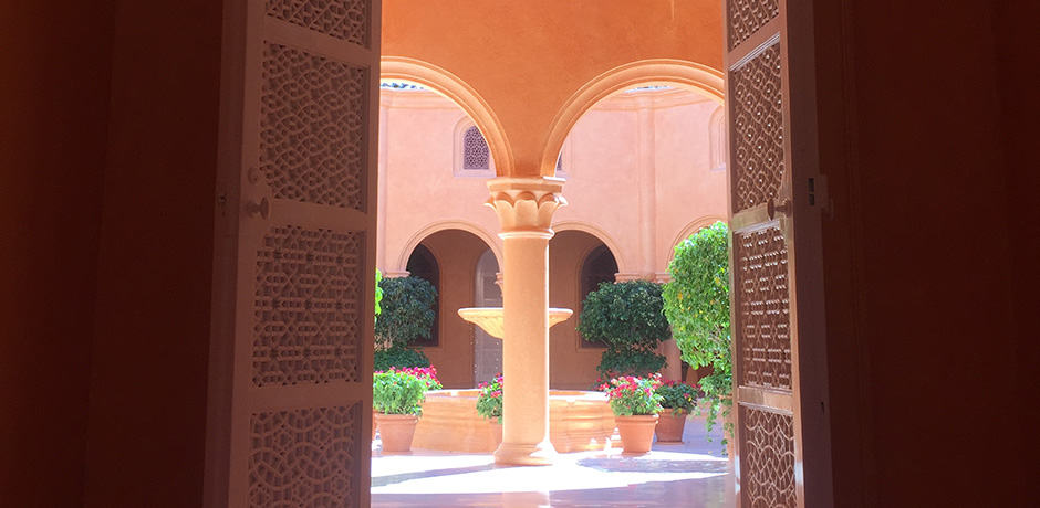 The interior décor has Moroccan influences, as seen here.