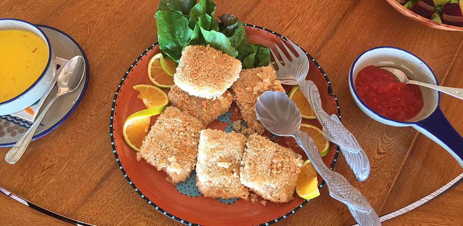 A lunch of freshly caught, almond-encrusted fish.