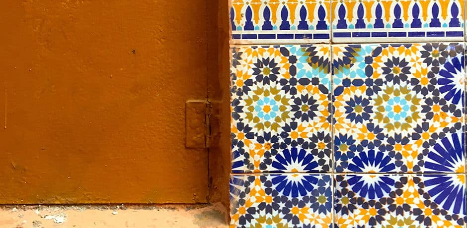 Tilework outside a small mosque in the souks of Marrakech