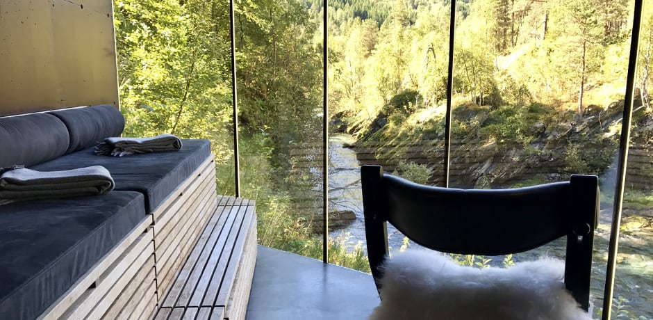 The relaxation room at Juvet Landscape Hotel, which served as the set for cult-favorite film Ex Machina