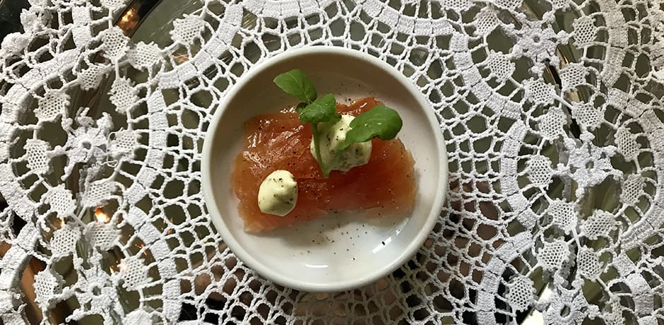 Smoked salmon with dill crème fraîche and watercress at Hotel Union Øye