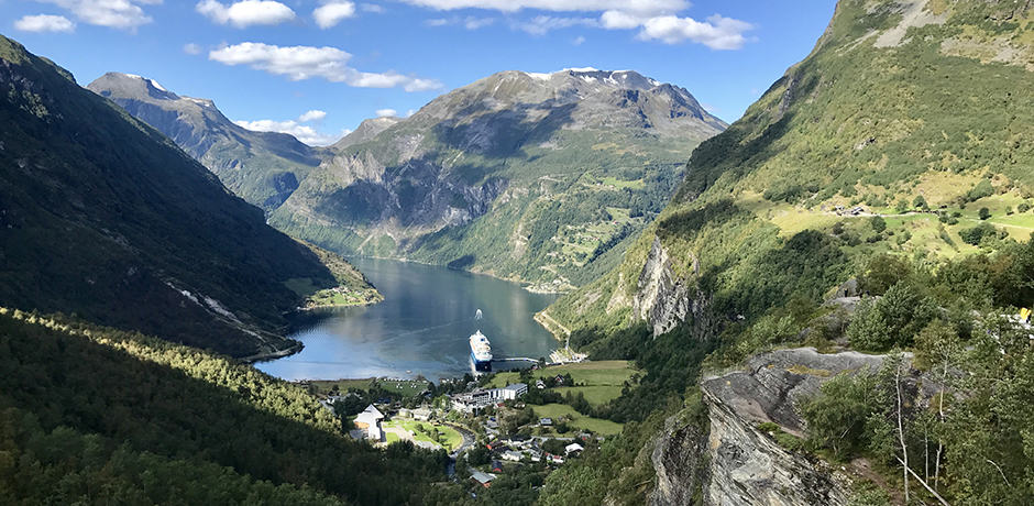 The Flydalsjuvet viewpoint overlooking the famous Geirangerfjord