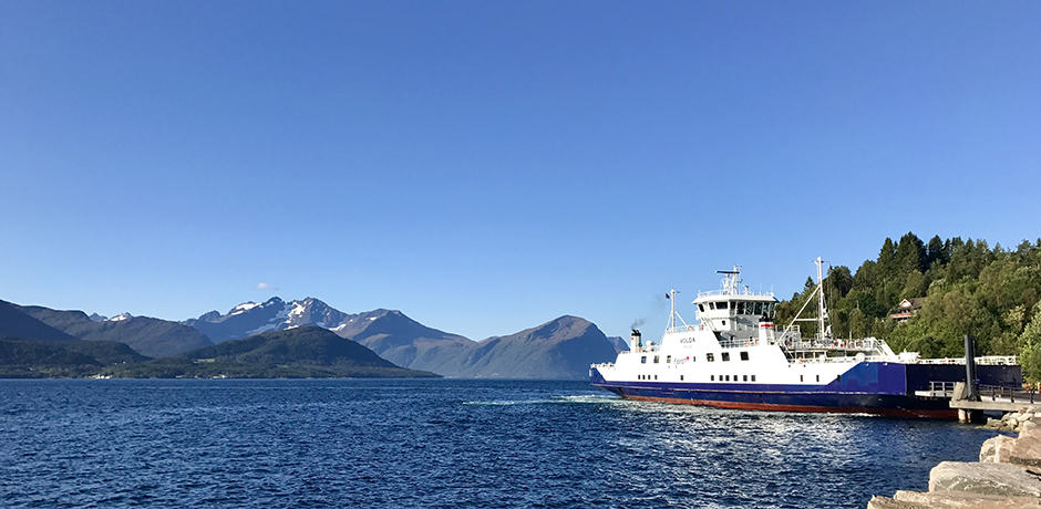 The logistics of getting around the fjords can seem daunting, but it is actually very easy. Ferries like the one shown here run often and offer beautiful views
