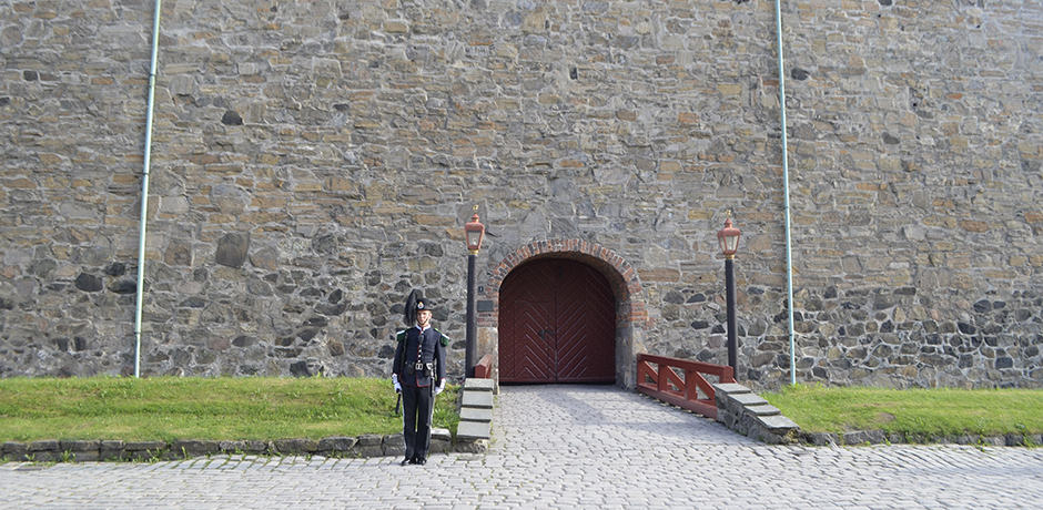 A guard keeps watch at Akershus Fortress, one of several Norwegian castles that inspired Arendelle in Disney's Frozen.
