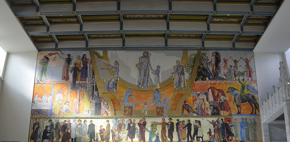 The Nobel Peace Prize is awarded at Oslo's City Hall  (the only Nobel prize awarded outside of #Sweden) and the interior walls are completely covered in vibrant murals detailing Norwegian history and daily life.