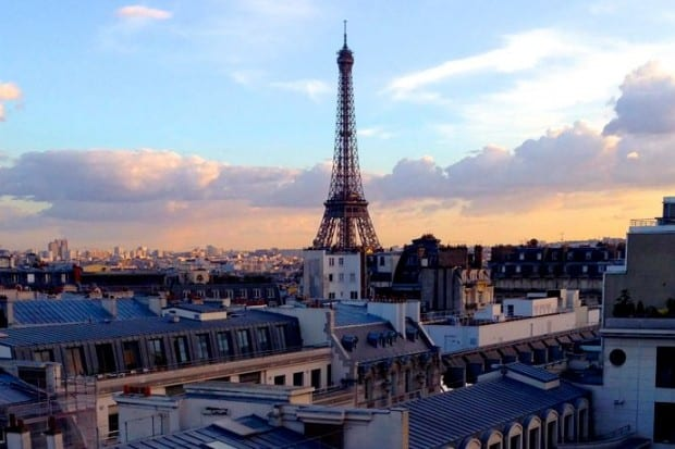 The view of the Eiffel Tower in Paris from a Peninsula Hotel suite