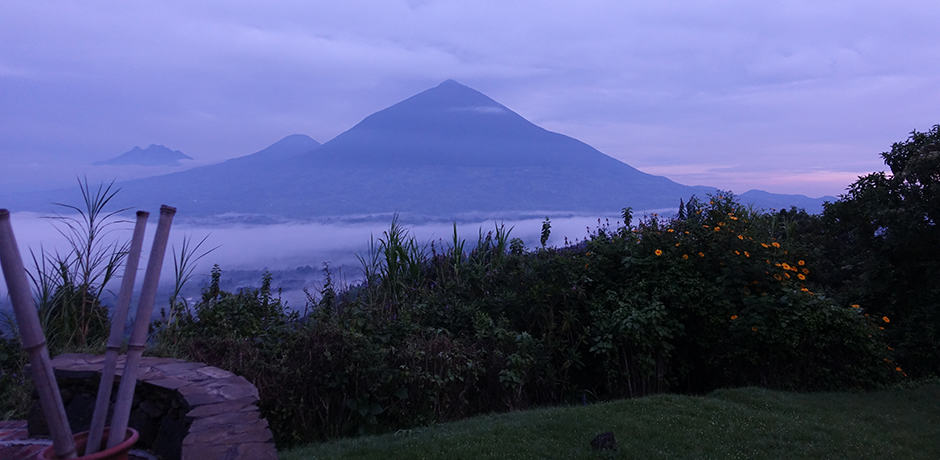 The view of Volcanoes National Park from Virunga Lodge.